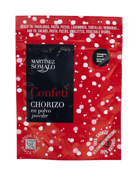 Confeti de Chorizo en polvo Martínez Somalo. Sobre Doypack de 60g de Chorizo deshidratado en polvo.