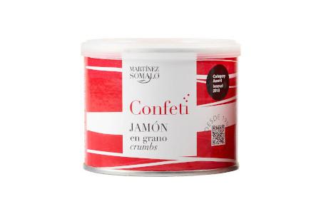 Confeti de Jamón en grano Martínez Somalo. Bote de 85g de Jamón deshidratado en grano.